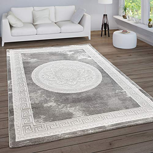 Paco Home Teppich Wohnzimmer Vintage Kurzflor Orientalische Muster Ornamente Bordüre Modern, Grösse:140x200 cm, Farbe:Grau 2