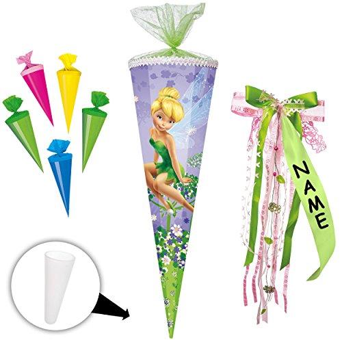 alles-meine.de GmbH stabile Spitze - aus Kunststoff - für Set _ Schultüte + 5 kleine Zuckertüten -  Disney Fairies - Fee Tinkerbell  - 70 / 85 cm - incl. individueller _ großer..