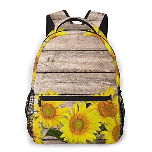 Nongmei Mochila para portátil de viaje,manta Retro girasoles de tablero de madera,mochila antirrobo resistente al agua para empresas,delgada y duradera