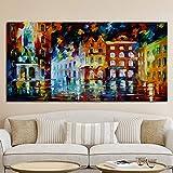 Modern Landscape Poster Print Abstract Seascape Pintura al óleo sobre lienzo Imagen de pared para la sala de estar Decoración del hogar 30X60cm