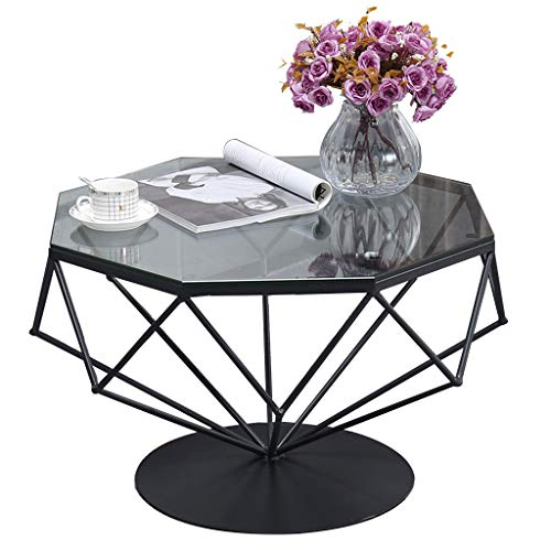 Nordic Simple Octagon Coffee Table - High Gloss Glass Creative Black Metal Frame Side Table - for Living Room Bedroom