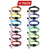 Elanz 12 Pack Reflective Breakaway Cat Collar with Bell & ID Tag – Adjustable, Super Soft, Durable Nylon Cat Collars – Multicolor with Safety Buckles & Weatherproof ID Tags for Kittens & Cats