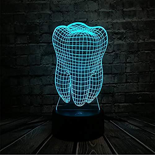 3D LED Lámparas de ilusión óptica Luz nocturna Dientes de diente fresco Ambiente USB Colorido Niños Juguetes Dormitorio Mesa de escritorio como decoración de regalo...