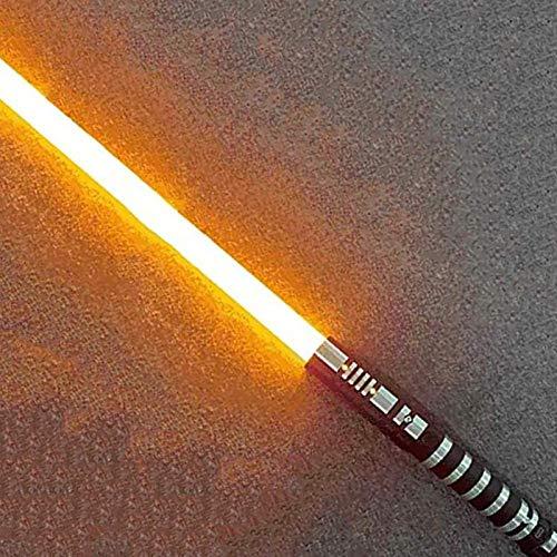 YLME Sable Luces Star Wars Que Brilla Intensamente Juguete Juguete Metal Extraíble USB Carga Ligera Láser Espada para Niños Brillante Regalo Juguete Cosplay Juguete,Amarillo,38.5Inches