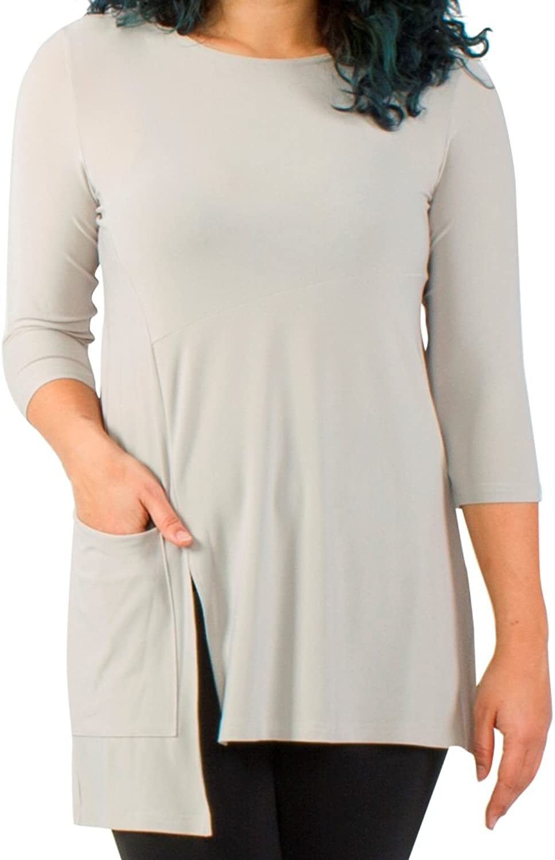 Sympli Womens Plus Size Chop Tunic 3 4 Sleeves