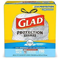 Glad Tall Kitchen Drawstring Trash Bags - OdorShield 13 Gallon White Trash Bag, Febreze Fresh Clean