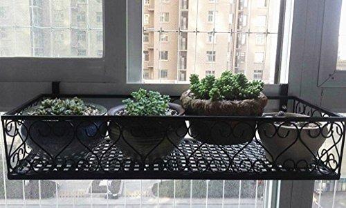 ZHDC® Barrières étagères de fleurs, balcon de style européen suspendu Mur suspendu Iron Couches multiples Porte-pot à fleurs noir 50 × 25 cm Stable fort espace de sauvegarde ( taille : 120*25cm )