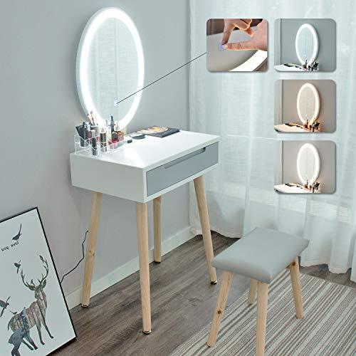 ARTETHYS Tocador de Maquillaje Moderno con Luces, Taburete Organizador de Mesa de...