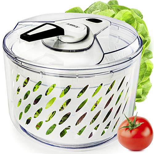 Fullstar Large Salad Spinner Lettuce Dryer - Easy Spin Salad Spinner Large Vegetable Washer - Manual Salad Spinner - Vegetable Dryer - Veggie Spinner Dry Salad Spinner