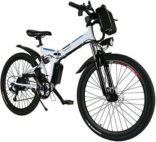 Profun 26'' Velo Electriques,Vélo de Montagne 250W 36V/8Ah Batterie Lithium-ION E-Bike avec Moteur, Shimano Amovible 7 Vitesses, Frien à Double Disque, vélo électrique Pliant pour Adultes