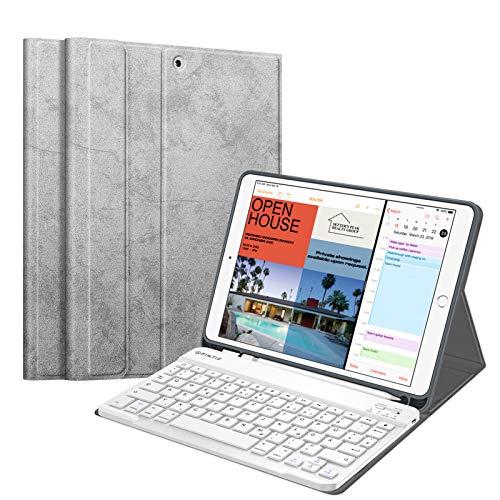 Fintie Tastatur Hülle für iPad Air 10.5' 2019 (3. Generation) / iPad Pro 10.5' 2017, Soft TPU Rückseite Schutzhülle mit Pencil Halter, magnetisch Abnehmbarer QWERTZ Tastatur, Silber grau