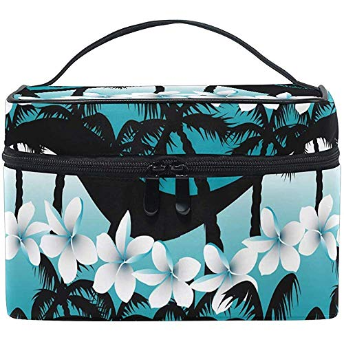 Kosmetiktaschen Frangipani Blumen Palme Große Reise Makeup Organizer Kulturbeutel Tasche Waschbeutel 9x6,5x6,2 Zoll