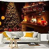 AIDEMEI Nieve Árbol De Navidad Chimenea Santa Claus Estampado Tapiz Colgante De Pared Fondo Decoración De Tela Navidad Hogar Decoración De La Pared De La Habitación 150x100cm