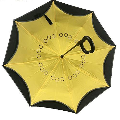 Shhjjpy Originele aanbiedingen Omgekeerd binnen Uit Paraplu | Dubbele Laag Omgekeerde UV-bescherming Unieke Winddichte Paraplu Omgekeerde Open Vouwparaplu's met C Haak voor Ophangen