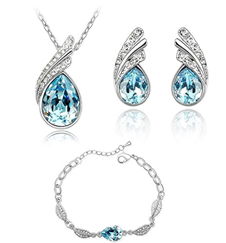 Lágrimas Crystals from Swarovski Azul Aguamarina simulada Juego de joyas Collar Pendientes Pulsera 18k Chapado en oro blanco