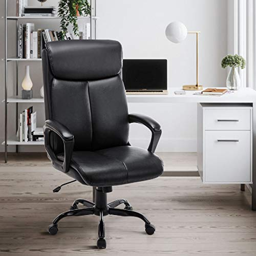 Modern Leather Office Chair -Executive Black Computer Desk Chair for Office Workers & Students...