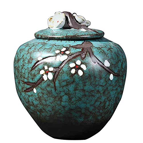 Urns for Ashes Adult Cremation Urns for Ashes Adult Ceramic Funeral Fits Cremated Remains Chinese Style Plum Pattern, Ashes Decorations High Temperature Firing Commemorate Your Love(5.51x6.18 Inch) ZH