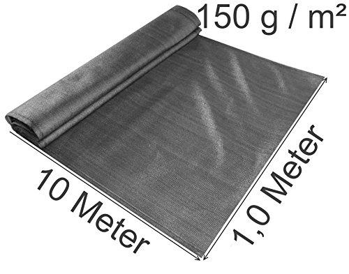 EXCOLO Schattiernetz gefaltet 1,0 Meter hoch, 10 m lang 150 g/m², Farbe grau anthrazit als Windschutnetz Bauzaunsichtschuz Blickschutz für Tennis Baustelle (10 Meter lang / 1,0 Meter hoch)