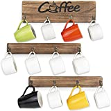 Olakee Coffee Mug Holder, Rustic Mug Rack Wall Mounted with Coffee Sign- 12 Coffee Cup Hangers for Kitchen Organizer, Coffee Nook Decor (Carbonized Black)