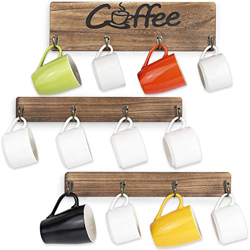 Olakee Coffee Mug Holder Rustic Mug Rack Wall Mounted with Coffee Sign 12 Coffee Cup Hangers for Kitchen Organizer Coffee Nook Decor Carbonized Black