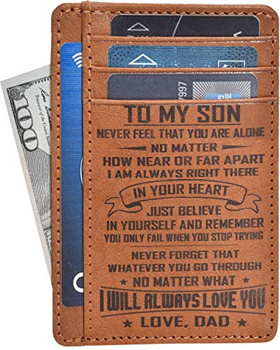 Personalized Engraved Wallet - Brown Real Leather RFID...
