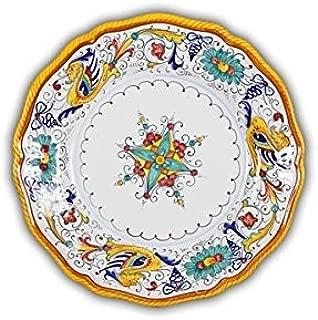 Arte D'Italia Imports Hand Painted Italian Ceramic Raffaellesco Fluted Dinner Plate - Handmade in Deruta