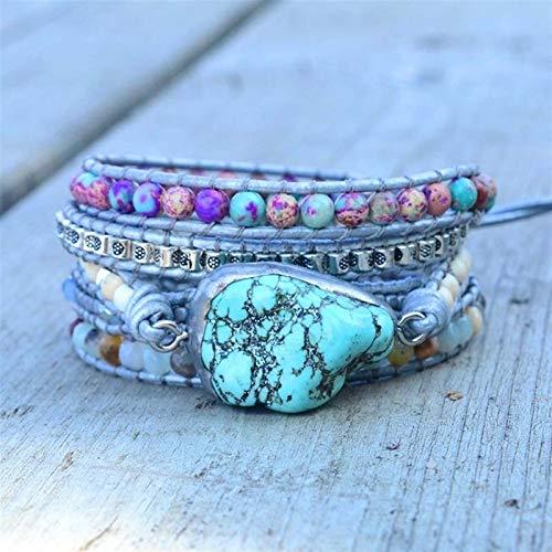 XYBB Unique Mixed Natural Stones Turquoises Charm 5 Strands Wrap Bracelets Handmade Boho Bracelet Women Leather Bracelet (Metal Color : Silver Plated)