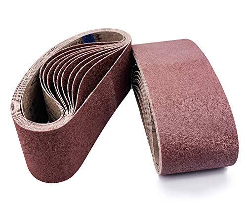 18 PCS Sanding Belt Sander Belt 3×21-Inch, Aluminum Oxide (3 Each of 40 80 120 150 240 400 Grits) for Belt Sander