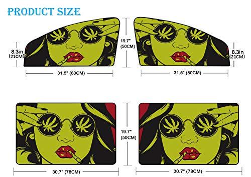 4 Unids Parabrisas del coche Sombra de sol Divertido Cool Hip Hop Chica Camiseta a rayas Sombrero Gafas de sol Coche Sombra de sol Divertida cortina magnética Protección contra la luz solar brillante