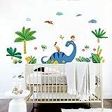 decalmile Pegatinas de Pared Dinosaurio Vinilos Decorativos Niños Palmera Adhesivos Pared Habitación Infantiles Bebés Guardería Aula
