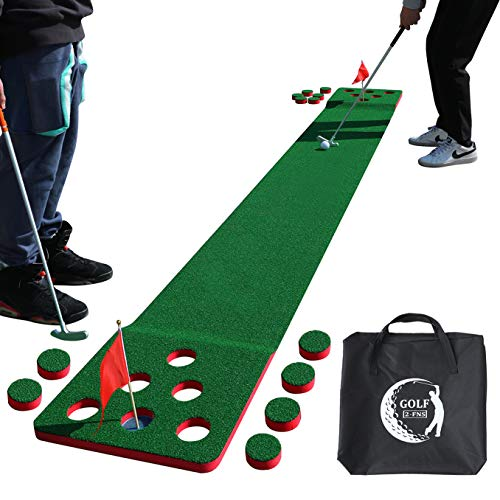 2-FNS Golf Pong Game Play Set, 11'5 Golf Putting Green Mat for Indoor Outdoor Golf Practice