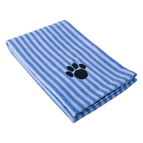 Bone Dry Embroidered Pet Towel, 44 x 27.5', Striped Blue