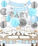 Kreatwow Baby Shower Dekorationen für Jungen It's A Boy Baby-Party mit Folienballon Baby Baby Blue Wimpelkette und Seidenpapier