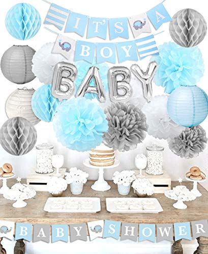 Kreatwow Decorazioni Baby Shower per Ragazzo It's A Boy Baby Shower con OH Baby Foil Letter Balloon Baby Blue Bunting e Carta velina