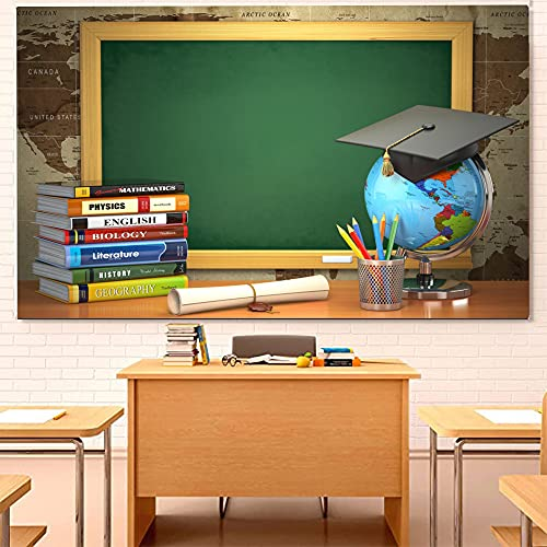 CSFOTO 5x3ft Back to School Backdrop Books Blackboard Tellurion Graduation Cap Online Teaching Background for Photography Online Course Decor Homecoming Student Children Photo Backdrop