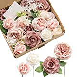 Ling's moment French Dusty Rose Artificial Wedding Flowers Combo for Wedding Bouquets Centerpieces...