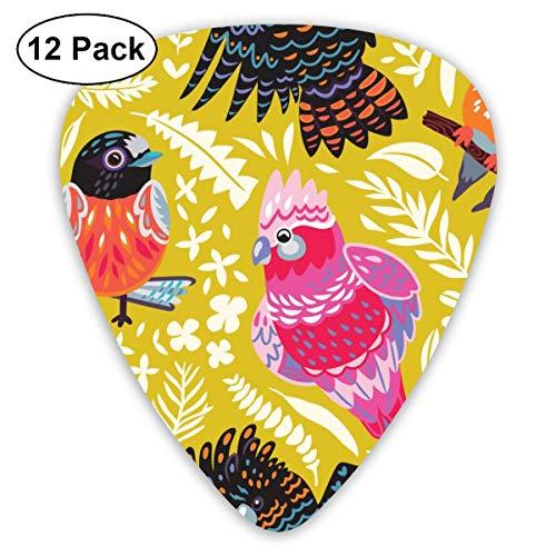 Gitaar Pick Exotisch Patroon Met Australische Vogels En Tropische Bladeren 12 Stuk Gitaar Paddle Set Gemaakt Van Milieubescherming ABS Materiaal, Geschikt voor Gitaren, Quads, Etc