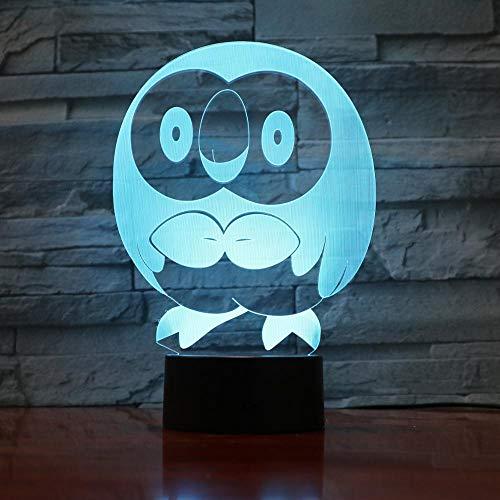 Jiushixw 3D acryl nachtlampje met afstandsbediening van kleur veranderende tafellamp uil vorm dier vogel baby sfeer vergroting glas kristal tafellamp