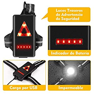 Volcano Eye Luz para Correr Running Lámpara de Pecho con Haz Ajustable de 500 Lúmenes Frontal LED de Seguridad Trasera Recargable USB Impermeable para Ciclismo Carrera Caza Acampada Montañismo