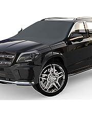 ShinePick カーフロントカバー 車サンシェード 防水 凍結防止カバー 霜よけ 日よけ 雪対策 遮光断熱 簡単取付 四季用 軽自動車/SUV車に適用 (215x125cm)