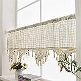 Cortina doselera de lino, algodón natural, cenefas de ganchillo, perfecta para la cocina, tela, Hueso, 70' x 18'