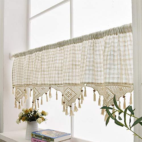 """Cortina doselera de lino, algodón natural, cenefas de ganchillo, perfecta para la cocina, tela, Hueso, 70"""" x 18"""""""