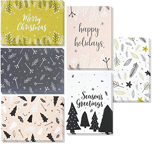 Price comparison product image 48 Pack of Christmas Xmas Winter Holiday Family Greeting Cards - Assorted Modern Festive Designs - Black,  White,  Pink - Boxed with 48 Count White Envelopes Included - 4 x 6 Inches