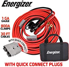 Energizer Jumper Cables, 30 feet, 1 Gauge, 800A, Booster Battery Cables with Permanent Installation kit and Quick Connect Plug - 30 Ft Allows You to Jump Start a Battery from Behind a Vehicle