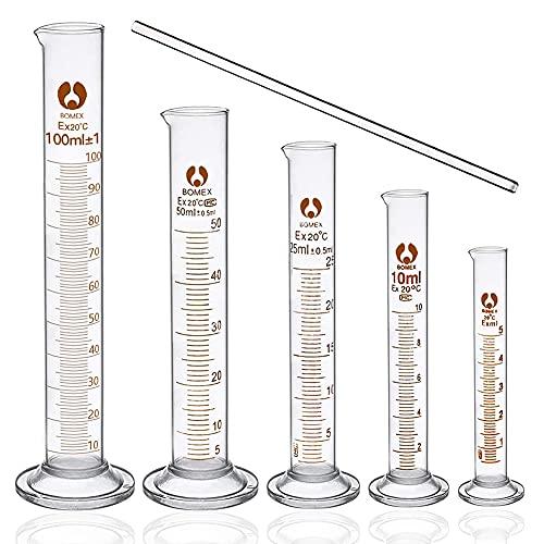 6 Pcs Cilindri Graduati in Vetro Cilindro Graduato, Provette Graduate 5ml 10ml 25ml 50ml 100ml et Barra di Agitazione, Kit Accessori per Laboratori Esperimento Scientifico Chimica