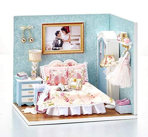 moin moin ドールハウス ミニチュア 手作りキット セット レトロ アメリカン ヨーロピアン 4つで1つの家になる 面白ギミック 創作ドールハウス   小型 初心者向け   LEDライト + アクリルケース セット/ベッドルーム