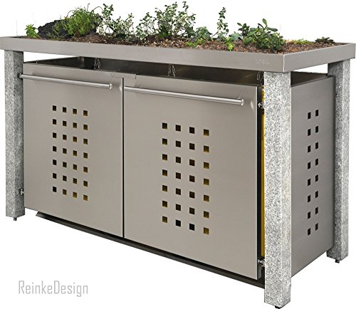 Mülltonnenbox mit Granitpfosten & Pflanzenwanne 3x240l