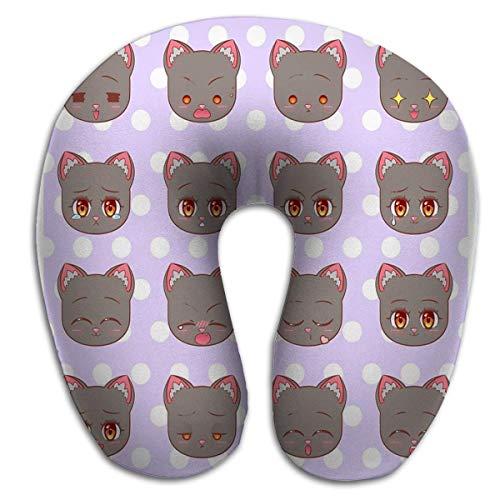 Almohada en Forma de U, Conjunto de emoticones Colorido Dulce Kitty Little Cute Kawaii Anime Cartoon Cat Kitten Girl Diferentes emociones Mascota stic