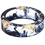 8mm Ocean Style Transparent Plastic Resin Wedding Band Cocktail Party Ring (Black, 10)