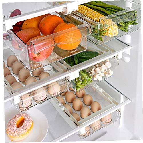Conjunto de 3 Frigorífico Organizador de cajones 2 Frigorífico Organizador Bins con 1 huevo Caja de almacenamiento Cajones de plástico extraíble Nevera Organizador de cajones de verduras y frutas